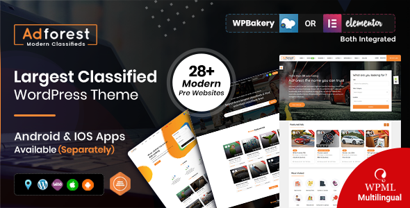 01 theme preview.  large preview - AdForest - Classified Ads WordPress Theme