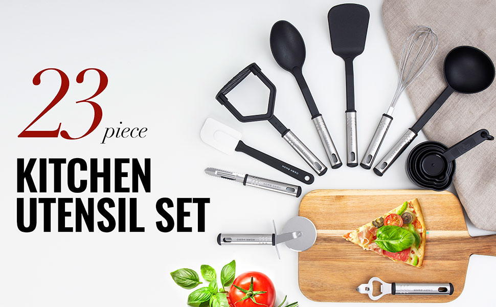 0324ec3b 4659 4abd 9378 a13e8198f300.  CR0,0,970,600 PT0 SX970 V1    - Home Hero Kitchen Utensil Set - 23 Nylon Cooking Utensils - Kitchen Utensils with Spatula - Kitchen Gadgets Cookware Set - Kitchen Tool Set
