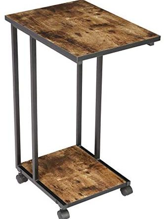 1607850251 410P9bIm5LL. AC  332x445 - JJS Side End C Table for Sofa, Living Room Couch Table Snack Table That Slide Under for Small Spaces, Rustic Brown