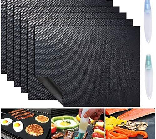 1608162885 61rEqqohahL. AC  499x445 - ACMETOP 6 Pack Large Grill Mat, Non Stick BBQ Grill Mat, Reusable Grill Mats with Two Oil Brushes, Easy to Clean Barbecue Grilling Accessories for Gas, Charcoal, Electric Grill - 19.69 x 15.75 Inch