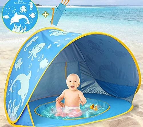 1608486587 51UThGBfMaL. AC  500x445 - TURNMEON Baby Beach Tent with Pool,2020 Upgrade Easy Fold Up & Pop Up Unique Ocean World Baby Tent,50+ UPF UV Protection Outdoor Tent for Aged 0-4 Baby Kids Parks Beach Shade (Blue)