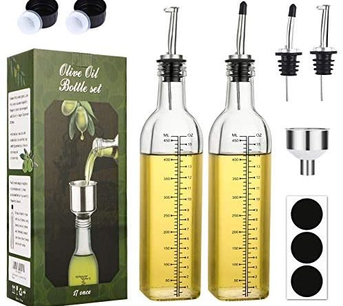1609101073 51hvai2LhAL. AC  498x445 - [2 PACK]Aozita 17 oz Glass Olive Oil Dispenser Bottle Set - 500ml Clear Oil & Vinegar Cruet Bottle with Pourers, Funnel and Labels - Olive Oil Carafe Decanter for Kitchen