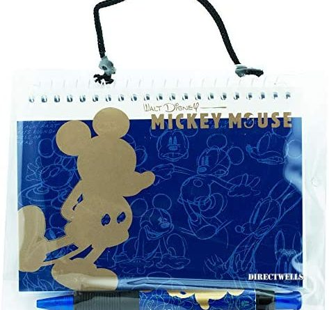1609188879 51pmZo8cg4L. AC  473x445 - Disney Mickey Mouse Gold Blue Autograph Book with Retractable Pen