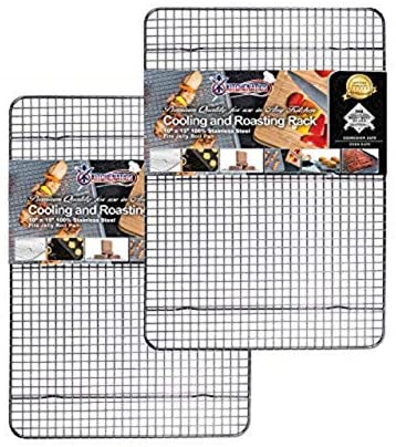 "1609232488 514TXqlCOFL. AC  - KITCHENATICS 100% Stainless Steel Roasting and Cooling Rack Fits Jelly Roll Pan, Rust Proof Rack with Patent-Pending Extra Welds & Wire Grid, Use for Oven & Grill, Non-Toxic, 10"" x 15"" x 1"", Set Of 2"