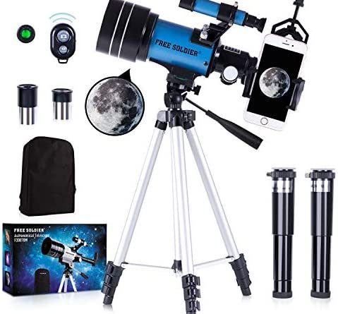 1609405846 51fyp9a7uVL. AC  479x445 - FREE SOLDIER Telescope for Kids&Astronomy Beginners - 70mm Aperture Refractor Telescope for Stargazing With Adjustable Tripod Phone Adapter Wireless Remote Perfect Travel Telescope Gift for Kids, Blue