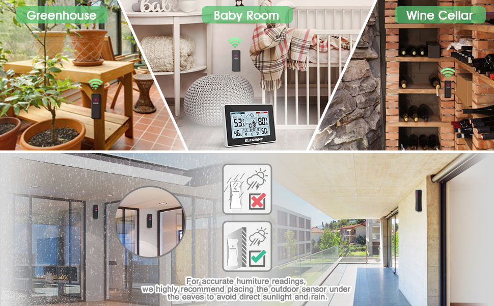 1b65edd9 d179 4c5d 8b6b 04f360cc5dc9.  CR0,0,970,600 PT0 SX970 V1    - ELEGIANT Wireless Weather Station, Indoor Outdoor Thermometer Hygrometer with Sensor, LCD Touch Screen, Digital Temperature Humidity Monitor, Weather Forecast, Time & Date(7 Language), 3 Channels