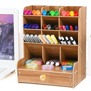 1d35fa81 a489 4876 b8c0 9df7c96eb898.  CR0,0,300,300 PT0 SX300 V1    - Marbrasse Wooden Desk Organizer, Multi-Functional DIY Pen Holder Box, Desktop Stationary, Easy Assembly ,Home Office Supply Storage Rack with Drawer (B11-Cherry Color)