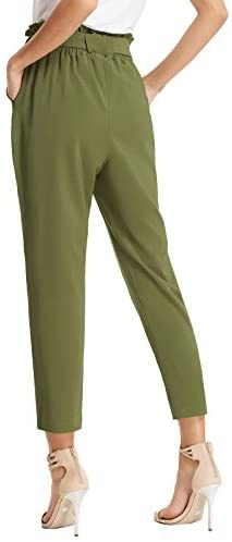 31mY7Kxl0FL. AC  - GRACE KARIN Women's Cropped Paper Bag Waist Pants with Pockets