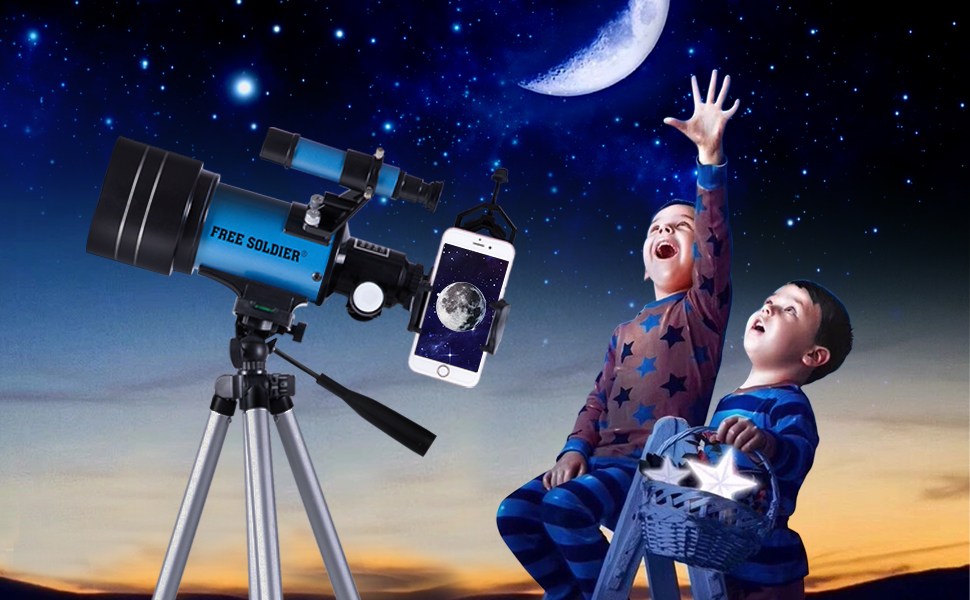 3683ea9e 2700 471b afa1 37e441982e1d.  CR0,0,970,600 PT0 SX970 V1    - FREE SOLDIER Telescope for Kids&Astronomy Beginners - 70mm Aperture Refractor Telescope for Stargazing With Adjustable Tripod Phone Adapter Wireless Remote Perfect Travel Telescope Gift for Kids, Blue