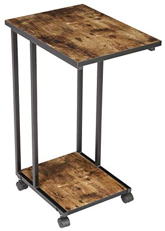 410P9bIm5LL. AC  - JJS Side End C Table for Sofa, Living Room Couch Table Snack Table That Slide Under for Small Spaces, Rustic Brown