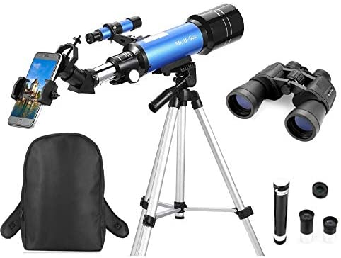 41ET33WMUOL. AC  - MaxUSee Travel Telescope with Backpack - 70mm Refractor Telescope & 10X50 HD Binoculars Bak4 Prism FMC Lens for Moon Viewing Bird Watching Sightseeing