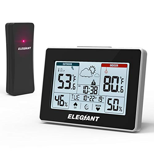 41FAbyW9rZL - ELEGIANT Wireless Weather Station, Indoor Outdoor Thermometer Hygrometer with Sensor, LCD Touch Screen, Digital Temperature Humidity Monitor, Weather Forecast, Time & Date(7 Language), 3 Channels
