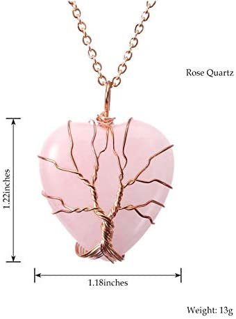41GYd0ryS8L. AC  - Top Plaza Natural Healing Crystals Necklace Tree of Life Wire Wrapped Stone Heart Pendant Necklaces Reiki Quartz Jewelry for Womens Girls Ladies