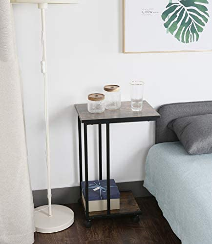 41Hq3ITMknL. AC  - JJS Side End C Table for Sofa, Living Room Couch Table Snack Table That Slide Under for Small Spaces, Rustic Brown