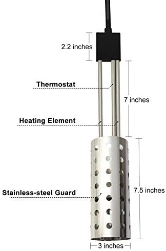 41LEf1qfnFL. AC  - Electric Portable Bucket Heater, Gesail UL-Listed Immersion Heater With 304 Stainless-steel Guard, Submersible Bucket water Heater With Thermostat and Auto Shutoff Protection
