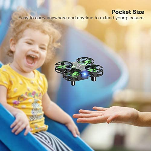 41VF5XPhE2L. AC  - SNAPTAIN H823H Mini Drone for Kids, RC Pocket Quadcopter with Altitude Hold, Headless Mode, 3D Flip, Speed Adjustment and 3 Batteries-Green