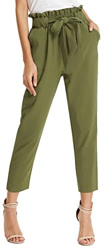 41Xc8D3YIcL. AC  - GRACE KARIN Women's Cropped Paper Bag Waist Pants with Pockets