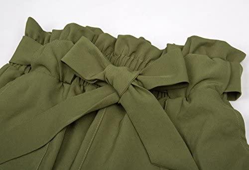 41fLdpSCKeL. AC  - GRACE KARIN Women's Cropped Paper Bag Waist Pants with Pockets