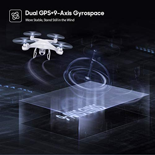 41syBLhuGoL. AC  - Potensic T25 GPS Drone, FPV RC Drone with Camera 1080P HD WiFi Live Video, Auto Return Home, Altitude Hold, Follow Me, 2 Batteries and Carrying Case
