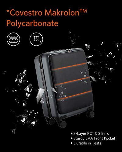 """41ydcjrBdiL. AC  - NINETYGO Carry on Luggage 22x14x9 with Spinner Wheels, Hardside Carry on Suitcase with Front Pocket Lock Cover, Super Convenience & Lightweight for Business Travel (20"""")"""