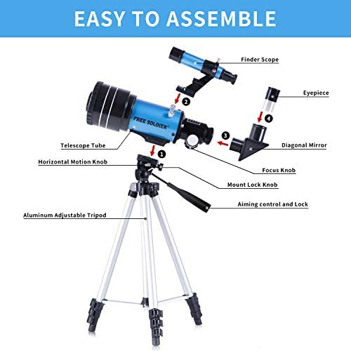 41zQ0Vrfj8L. AC  - FREE SOLDIER Telescope for Kids&Astronomy Beginners - 70mm Aperture Refractor Telescope for Stargazing With Adjustable Tripod Phone Adapter Wireless Remote Perfect Travel Telescope Gift for Kids, Blue