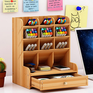 481324e8 1f2e 46df a52c dea5b34eff10.  CR0,0,300,300 PT0 SX300 V1    - Marbrasse Wooden Desk Organizer, Multi-Functional DIY Pen Holder Box, Desktop Stationary, Easy Assembly ,Home Office Supply Storage Rack with Drawer (B11-Cherry Color)