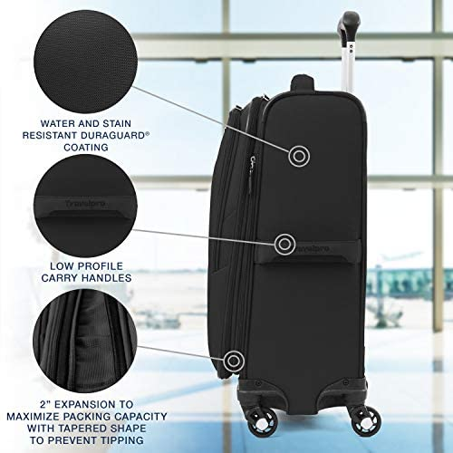51+nlEyhS9L. AC  - Travelpro Maxlite 5-Softside Expandable Spinner Wheel Luggage, Black, Carry-On 21-Inch