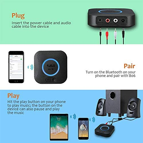 510gOIVAX+L. AC  - [Upgraded] 1Mii B06 Plus Bluetooth Receiver, HIFI Wireless Audio Adapter, Bluetooth 5.0 Receiver with 3D Surround aptX Low Latency for Home Music Streaming Stereo System