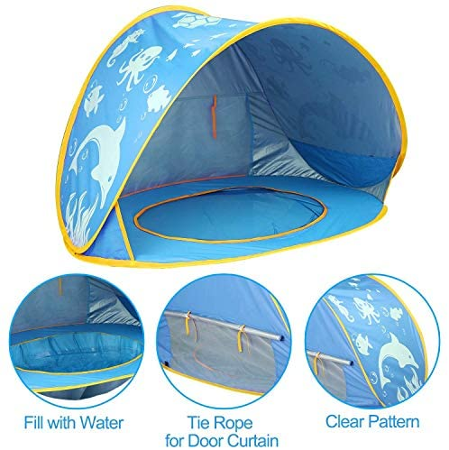 512PuDmMZgL. AC  - TURNMEON Baby Beach Tent with Pool,2020 Upgrade Easy Fold Up & Pop Up Unique Ocean World Baby Tent,50+ UPF UV Protection Outdoor Tent for Aged 0-4 Baby Kids Parks Beach Shade (Blue)