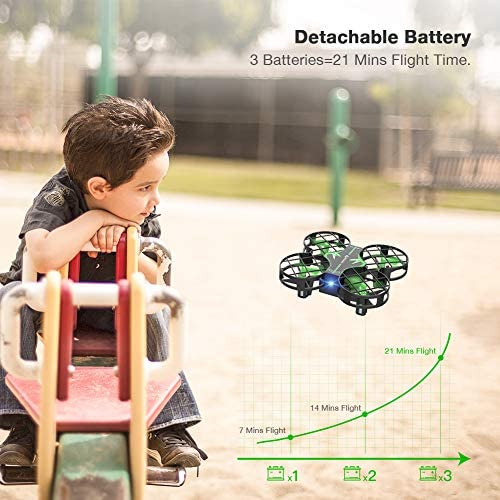 514EGORz+ L. AC  - SNAPTAIN H823H Mini Drone for Kids, RC Pocket Quadcopter with Altitude Hold, Headless Mode, 3D Flip, Speed Adjustment and 3 Batteries-Green