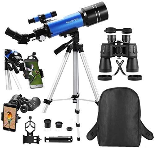 516fLUU RgL. AC  - MaxUSee Travel Telescope with Backpack - 70mm Refractor Telescope & 10X50 HD Binoculars Bak4 Prism FMC Lens for Moon Viewing Bird Watching Sightseeing
