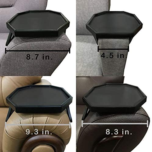 5176Pf2vkGL. AC  - Wooden Sofa Couch Armrest Clip-On Table, Recliner Armrest Organizer Tray for Coffee/Snacks/Electronics (Black)