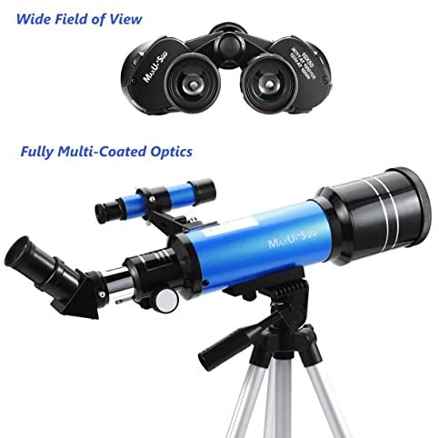 51CqpPD9QNL. AC  - MaxUSee Travel Telescope with Backpack - 70mm Refractor Telescope & 10X50 HD Binoculars Bak4 Prism FMC Lens for Moon Viewing Bird Watching Sightseeing