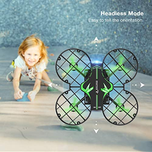 51Cvzugy9XL. AC  - SNAPTAIN H823H Mini Drone for Kids, RC Pocket Quadcopter with Altitude Hold, Headless Mode, 3D Flip, Speed Adjustment and 3 Batteries-Green