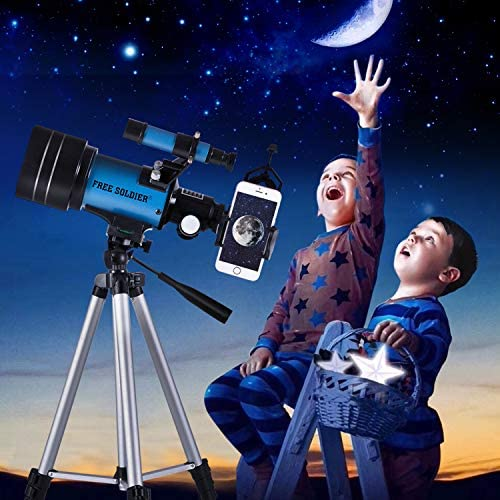 51DlHO1LTLL. AC  - FREE SOLDIER Telescope for Kids&Astronomy Beginners - 70mm Aperture Refractor Telescope for Stargazing With Adjustable Tripod Phone Adapter Wireless Remote Perfect Travel Telescope Gift for Kids, Blue