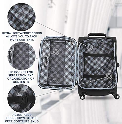 51Ew3yqLKPL. AC  - Travelpro Maxlite 5-Softside Expandable Spinner Wheel Luggage, Black, Carry-On 21-Inch