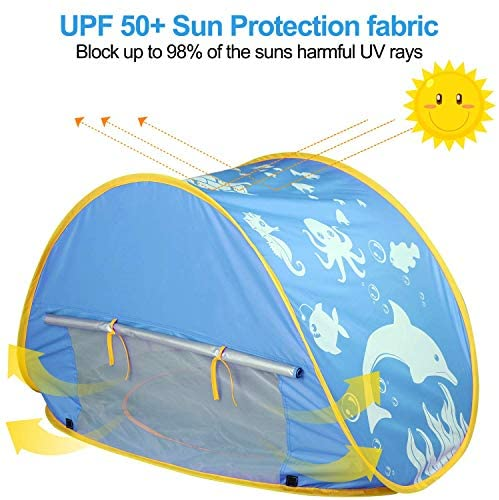51ExNlGb6pL. AC  - TURNMEON Baby Beach Tent with Pool,2020 Upgrade Easy Fold Up & Pop Up Unique Ocean World Baby Tent,50+ UPF UV Protection Outdoor Tent for Aged 0-4 Baby Kids Parks Beach Shade (Blue)