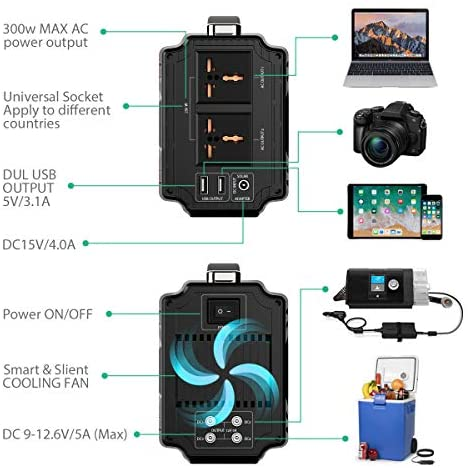51EyDgnh6NL. AC  - Rockpals 250-Watt Portable Generator Rechargeable Lithium Battery Pack Solar Generator with 110V AC Outlet, 12V Car, USB Output Off-grid Power Supply for CPAP Backup Camping Emergency