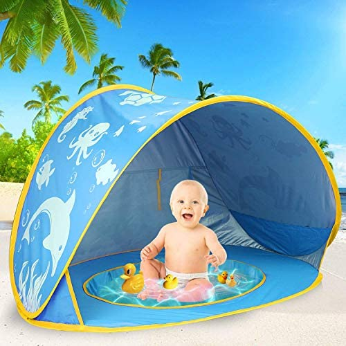 51EyGobqHDL. AC  - TURNMEON Baby Beach Tent with Pool,2020 Upgrade Easy Fold Up & Pop Up Unique Ocean World Baby Tent,50+ UPF UV Protection Outdoor Tent for Aged 0-4 Baby Kids Parks Beach Shade (Blue)