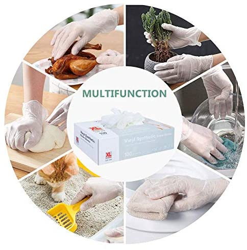 51HGd2S498L. AC  - squish Disposable Gloves,Clear Vinyl Gloves Latex Free Powder-Free Glove Cleaning Health Gloves for Kitchen Cooking Cleaning Food Handling, 100PCS/Box, X-Large