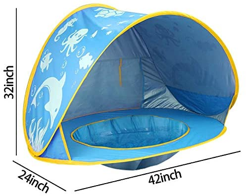 51IY kkBtsL. AC  - TURNMEON Baby Beach Tent with Pool,2020 Upgrade Easy Fold Up & Pop Up Unique Ocean World Baby Tent,50+ UPF UV Protection Outdoor Tent for Aged 0-4 Baby Kids Parks Beach Shade (Blue)