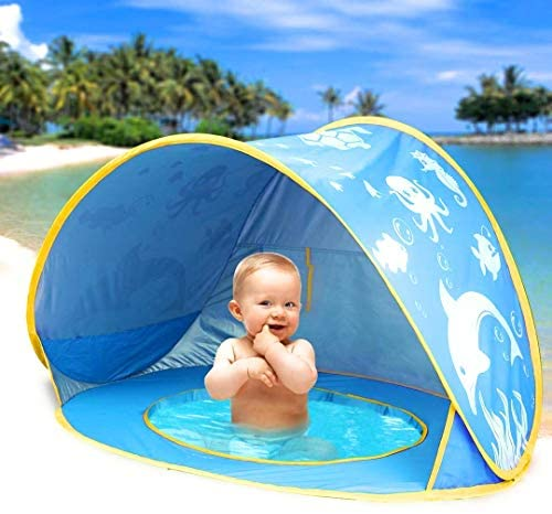 51J0lNhDwwL. AC  - TURNMEON Baby Beach Tent with Pool,2020 Upgrade Easy Fold Up & Pop Up Unique Ocean World Baby Tent,50+ UPF UV Protection Outdoor Tent for Aged 0-4 Baby Kids Parks Beach Shade (Blue)