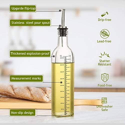 51KWzZdyKpL. AC  - [2 PACK]Aozita 17 oz Glass Olive Oil Dispenser Bottle Set - 500ml Clear Oil & Vinegar Cruet Bottle with Pourers, Funnel and Labels - Olive Oil Carafe Decanter for Kitchen