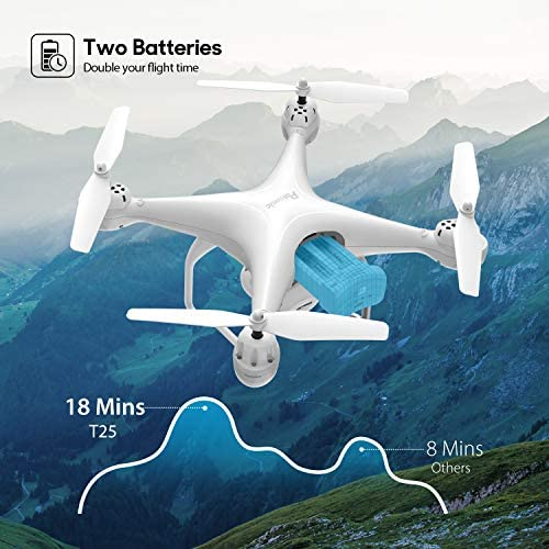 51MWKnjfYBL. AC  - Potensic T25 GPS Drone, FPV RC Drone with Camera 1080P HD WiFi Live Video, Auto Return Home, Altitude Hold, Follow Me, 2 Batteries and Carrying Case