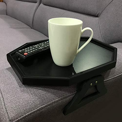 51Nff+g4TxL. AC  - Wooden Sofa Couch Armrest Clip-On Table, Recliner Armrest Organizer Tray for Coffee/Snacks/Electronics (Black)