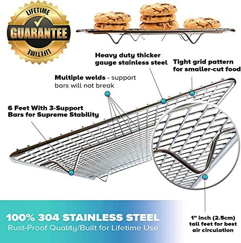 "51S0ktpYZ9L. AC  - KITCHENATICS 100% Stainless Steel Roasting and Cooling Rack Fits Jelly Roll Pan, Rust Proof Rack with Patent-Pending Extra Welds & Wire Grid, Use for Oven & Grill, Non-Toxic, 10"" x 15"" x 1"", Set Of 2"