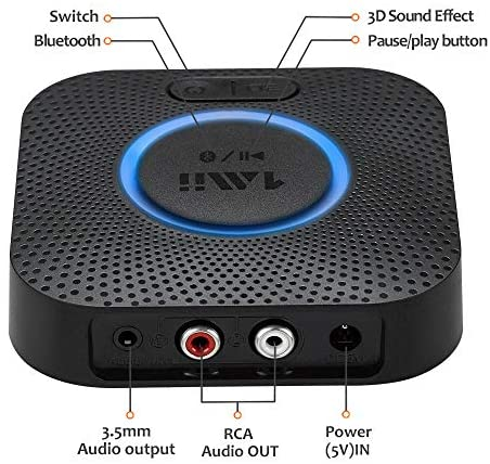 51S1 sNsJhL. AC  - [Upgraded] 1Mii B06 Plus Bluetooth Receiver, HIFI Wireless Audio Adapter, Bluetooth 5.0 Receiver with 3D Surround aptX Low Latency for Home Music Streaming Stereo System