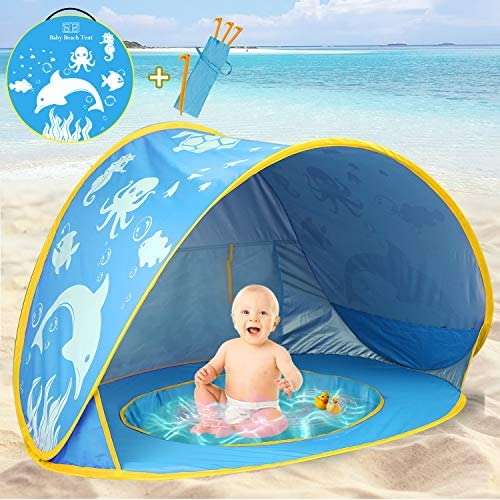 51UThGBfMaL. AC  - TURNMEON Baby Beach Tent with Pool,2020 Upgrade Easy Fold Up & Pop Up Unique Ocean World Baby Tent,50+ UPF UV Protection Outdoor Tent for Aged 0-4 Baby Kids Parks Beach Shade (Blue)