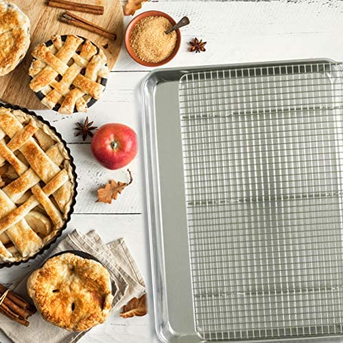 "51UVEkeeTHL. AC  - KITCHENATICS 100% Stainless Steel Roasting and Cooling Rack Fits Jelly Roll Pan, Rust Proof Rack with Patent-Pending Extra Welds & Wire Grid, Use for Oven & Grill, Non-Toxic, 10"" x 15"" x 1"", Set Of 2"