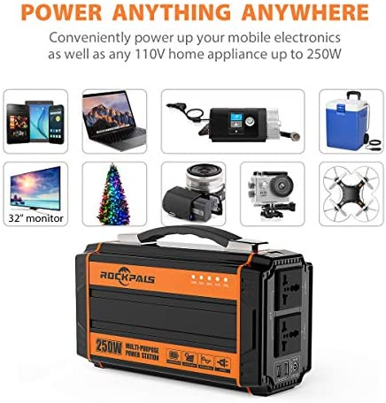 51Ull62clrL. AC  - Rockpals 250-Watt Portable Generator Rechargeable Lithium Battery Pack Solar Generator with 110V AC Outlet, 12V Car, USB Output Off-grid Power Supply for CPAP Backup Camping Emergency